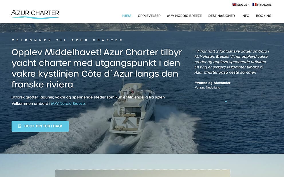 Website screenshot Azur Charter
